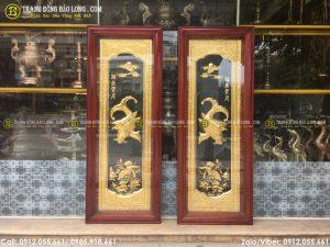 Đôi tranh cá chép bằng đồng 1m27 x 48cm mạ vàng 24k