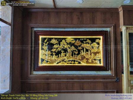 tranh vinh quy bái tổ bằng đồng 1m76 mạ vàng