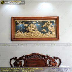 tranh thuận buồm xuôi gió bằng đồng 1m76 x 89cm mạ vàng